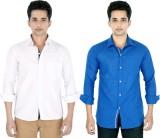 Yuva Men's Solid Casual Linen White, Blu...