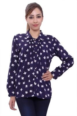 Tinge of Colors Women's Printed Formal Dark Blue Shirt