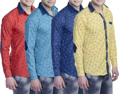 Aligatorr Men's Printed Formal Red, Blue, Dark Blue, Yellow Shirt