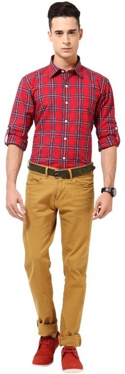 MONTEIL & MUNERO Mens Checkered Casual Red Shirt