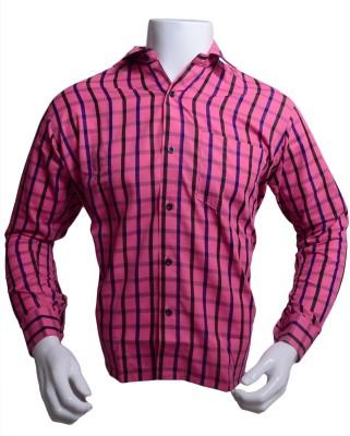 Qube Men's Checkered Formal Pink Shirt
