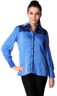 Trendy Divva Women's Solid Casual Blue Shirt