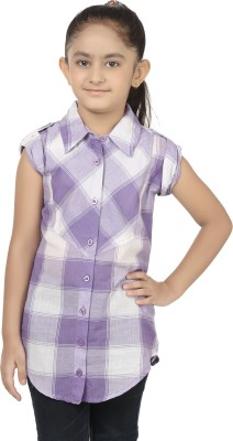 Eves Pret A Porter Girl's Checkered Casual White, Purple Shirt