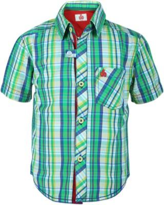 UFO Boys Checkered Casual Green Shirt