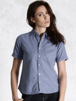 Roadster Women's Solid Casual Blue Shirt