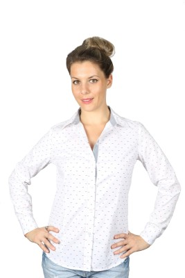 Ir Apparels Women's Printed Casual White Shirt