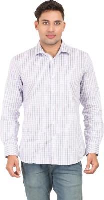 Don Vino Men's Checkered Casual White, Blue Shirt