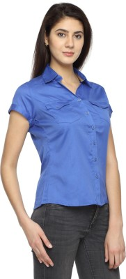 Texco Garments Women's Solid Casual Blue Shirt