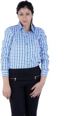 S9 Women's Checkered Casual Light Blue, Black, White, Multicolor Shirt