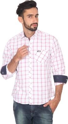 Ashford Brown Men's Checkered Casual White, Pink Shirt