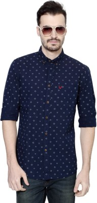 Allen Solly Men's Printed Casual Dark Blue Shirt