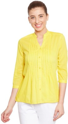 The Vanca Women's Solid Casual Yellow Shirt
