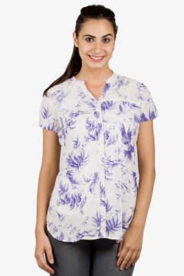 Bkind Women's Printed Casual Purple Shirt