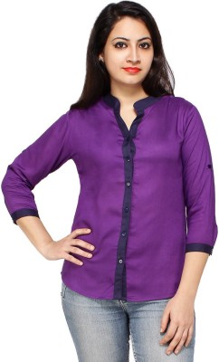 Styles Clothing Women's Solid Casual Purple Shirt
