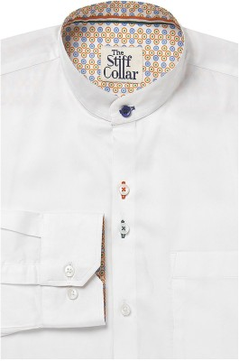 The Stiff Collar Men's Solid Formal, Casual White Shirt