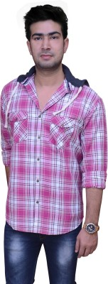 Golf Club Men's Checkered Casual Pink, White Shirt