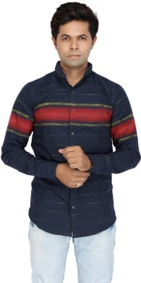 JG FORCEMAN Men's Striped Casual Light Blue Shirt