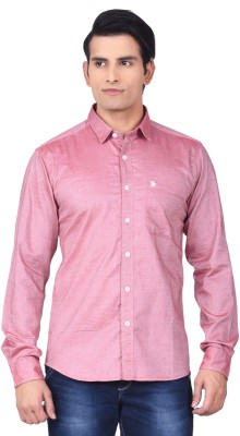 Moustache Men's Checkered Casual Pink Shirt