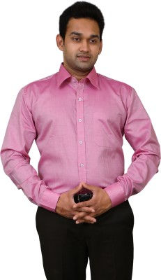 Benzoni Men's Solid Formal Pink Shirt