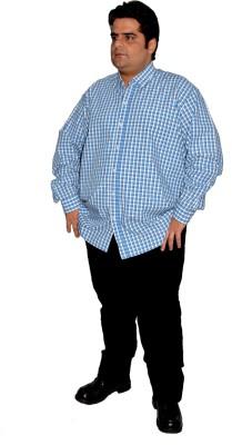 Xmex Men's Striped Formal Reversible Blue Shirt