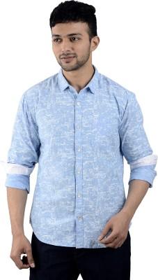 St. Germain Men's Printed Casual Light Blue Shirt