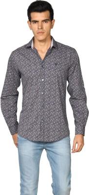 Provogue Men's Printed Formal Dark Blue Shirt