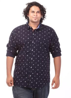 Ciroco Men's Printed Casual Blue Shirt