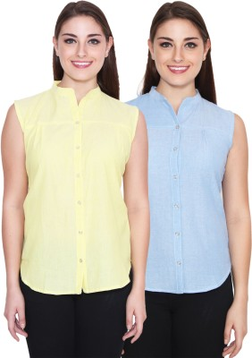 NumBrave Women's Solid Casual Yellow, Blue Shirt