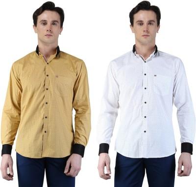 Magnoguy Men's Polka Print Casual White, Beige Shirt