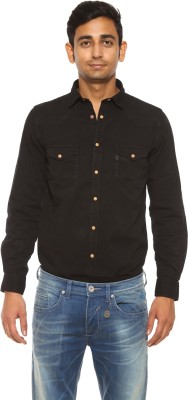 Pepe Jeans Men's Solid Casual Black Shirt