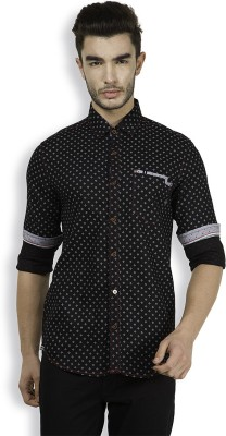 The Indian Garage Co. Men,s Printed Casual Black Shirt