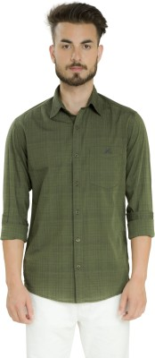 Club X Men's Striped, Self Design Casual Green Shirt