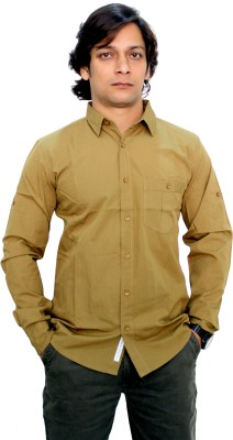 Babas Wear Men's Solid Casual Brown Shirt