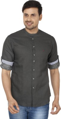 Wills Lifestyle Men's Solid Casual Grey Shirt