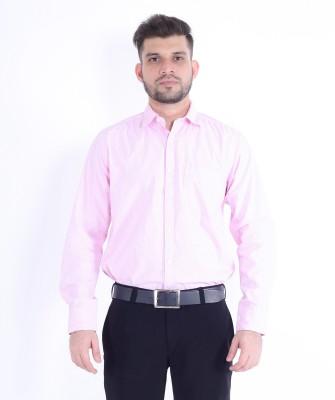 RJ MODA Men's Solid Formal Pink Shirt