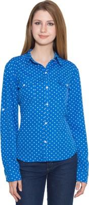 Eva De Moda Women,s Polka Print Casual Blue Shirt