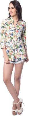 Florrie Fusion Women's Floral Print Casual White Shirt