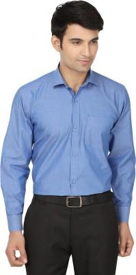 Forever19 Men's Solid Formal Blue Shirt