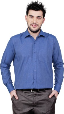 Zeal Mens Solid Formal Blue Shirt