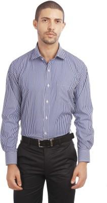 Leo Men's Striped Formal Blue Shirt