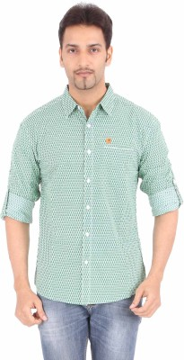Spykar Men's Printed Casual Green Shirt