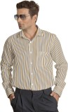 Willmohr Men's Striped Casual Yellow Shi...