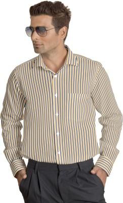 Willmohr Men's Striped Casual Yellow Shirt