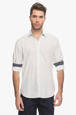 Cotton World Men's Printed Casual White Shirt