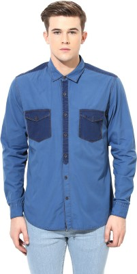 Velloche Men's Solid Casual, Festive Blue Shirt