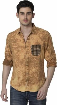 XARO Men's Self Design Casual Yellow Shirt