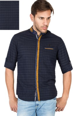 The Indian Garage Co. Men's Checkered Casual Blue Shirt