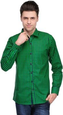 Inborn Men's Checkered Casual Green, Blue Shirt