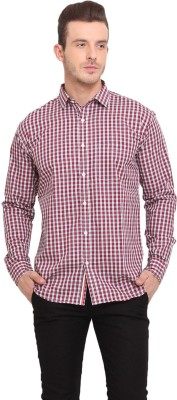 Ennoble Men's Checkered Casual Red Shirt