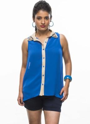 Moda Vastra Women's Solid, Embellished Casual Blue Shirt